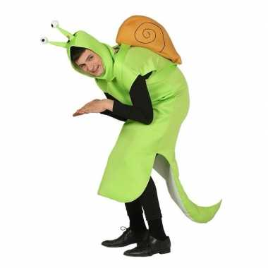 Originele slak carnavalskleding groen volwassenen