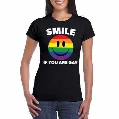 Originele smile if you are gay emoticon shirt zwart dames carnavalskl