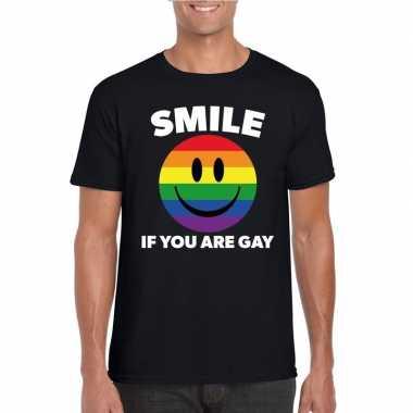 Originele smile if you are gay emoticon shirt zwart heren carnavalskl