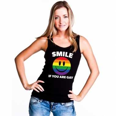 Originele smile if you are gay emoticon tanktop/ singlet shirt zwart
