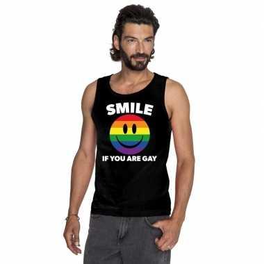 Originele smile if you are gay emoticon tanktop/ singlet shirt zwart