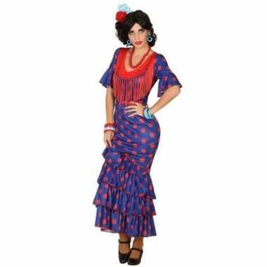 Originele spaanse flamencodanseres carnavalskleding blauw verkleed ca