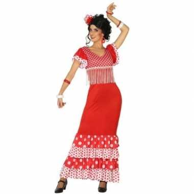 Originele spaanse flamencodanseres carnavalskleding rood verkleed car
