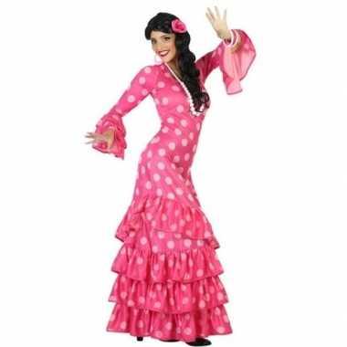 Originele spaanse flamencodanseres carnavalskleding roze verkleed car