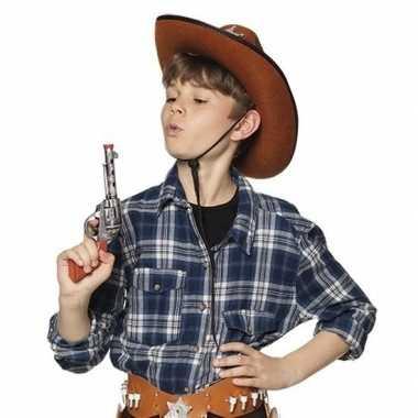Originele speelgoed cowboy revolver/pistool zilver carnavalskleding