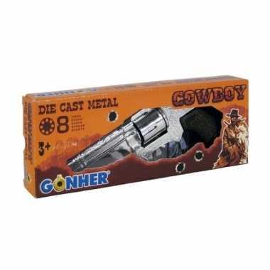 Originele speelgoed plaffertjes/klappertjes pistool schots zilver car