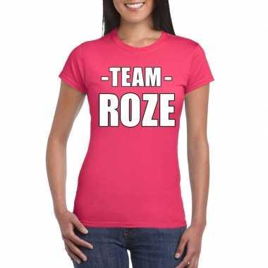 Originele sportdag team roze shirt dames carnavalskleding
