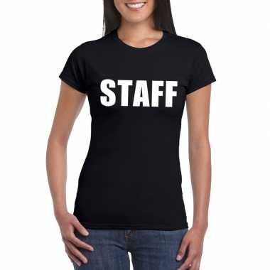Originele staff tekst t shirt zwart dames carnavalskleding