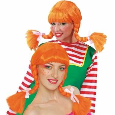 Originele sterk meisje pruik oranje dames carnavalskleding