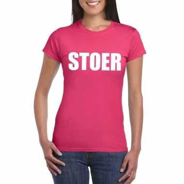Originele stoer tekst t shirt roze dames carnavalskleding
