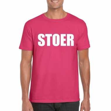 Originele stoer tekst t shirt roze heren carnavalskleding