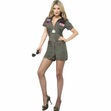 Originele straaljager piloten top gun carnavalskleding kort dames