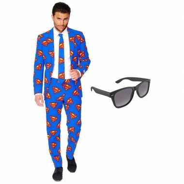 Originele superman heren carnavalskleding maat (xxxl) gratis zonnebri