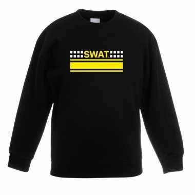 Originele swat team logo sweater zwart kinderen carnavalskleding