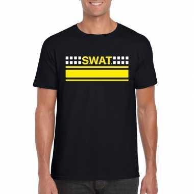 Originele swat team logo t shirt zwart heren carnavalskleding