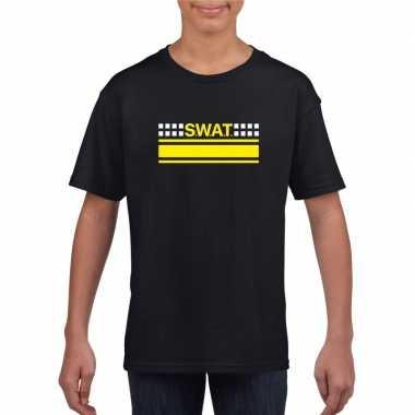 Originele swat team logo t shirt zwart kinderen carnavalskleding