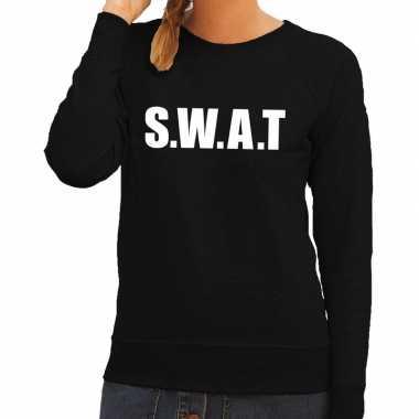 Originele swat tekst sweater / trui zwart dames carnavalskleding