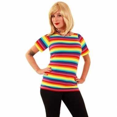 Originele t shirt regenboog strepen dames carnavalskleding