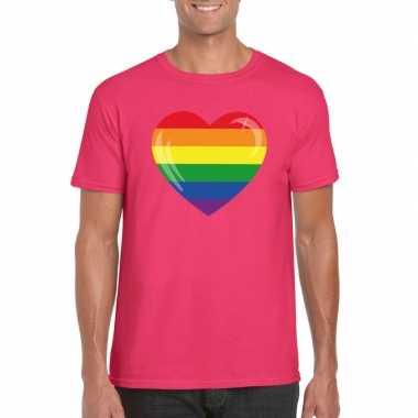 Originele t shirt regenboog vlag hart roze heren carnavalskleding