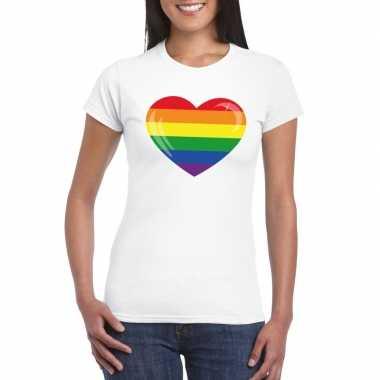 Originele t shirt regenboog vlag hart wit dames carnavalskleding