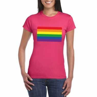 Originele t shirt regenboog vlag roze dames carnavalskleding