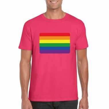 Originele t shirt regenboog vlag roze heren carnavalskleding
