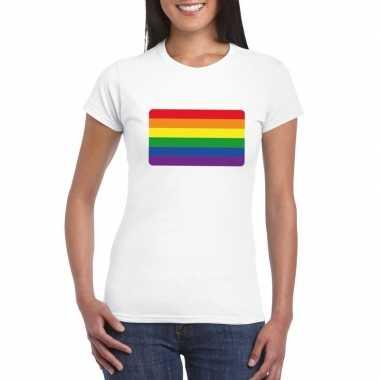Originele t shirt regenboog vlag wit dames carnavalskleding