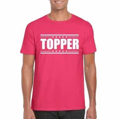 Originele topper t shirt fuscia roze heren carnavalskleding