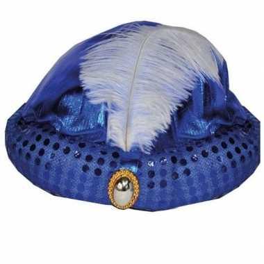 Originele toppers blauw arabisch sultan hoedje diamant veer carnavals