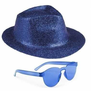 Originele toppers blauw trilby glitter party hoedje blauwe zonnebril