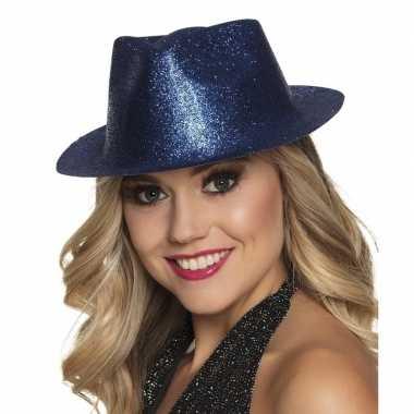 Originele toppers blauw trilby hoedje glitters dames carnavalskleding
