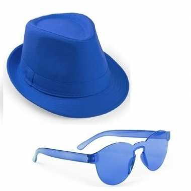 Originele toppers blauw trilby party hoedje blauwe zonnebril carnaval
