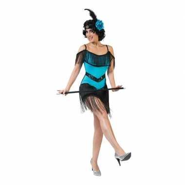 Originele toppers blauw/zwart charleston verkleed carnavalskleding da