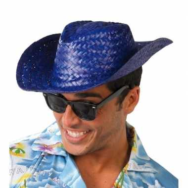 Originele toppers blauwe cowboy/strohoed volwassenen carnavalskleding
