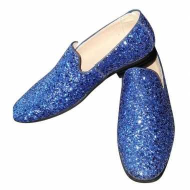 Originele toppers blauwe glitter pailletten disco instap schoenen her