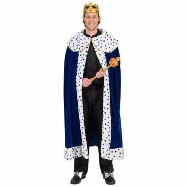 Originele toppers blauwe koning cape/mantel volwassenen carnavalskled