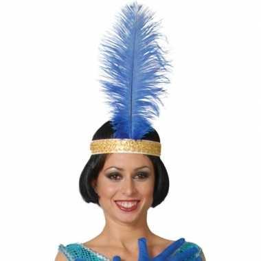 Originele toppers blauwe pauwenveer charleston/jaren verkleed accesso
