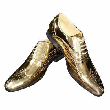 Originele toppers gouden glimmende brogues/disco schoenen heren carna