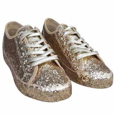 Originele toppers gouden glitter disco sneakers/schoenen dames carnav