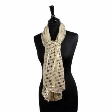 Originele toppers gouden glitter pailletten disco sjaal carnavalskled