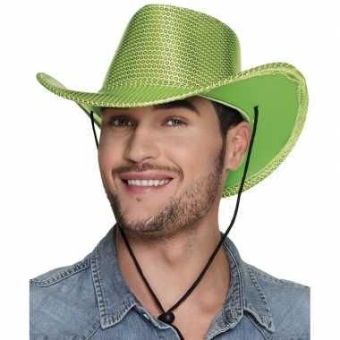Originele toppers groene cowboyhoed howdy pailletten volwassenen carn