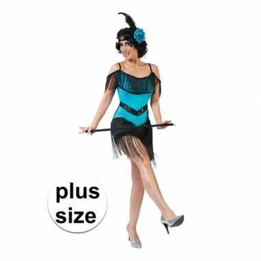 Originele toppers grote maat blauw/zwart charleston verkleed carnaval