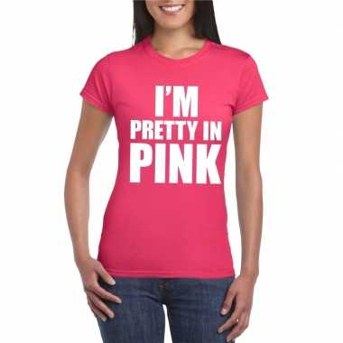 Originele toppers i am pretty pink shirt roze dames carnavalskleding