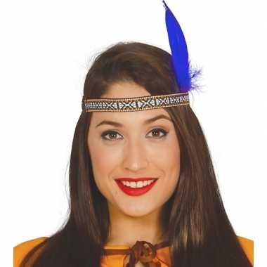 Originele toppers indianen verkleed hoofdband blauwe veer volwassenen