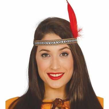 Originele toppers indianen verkleed hoofdband rode veer volwassenen c