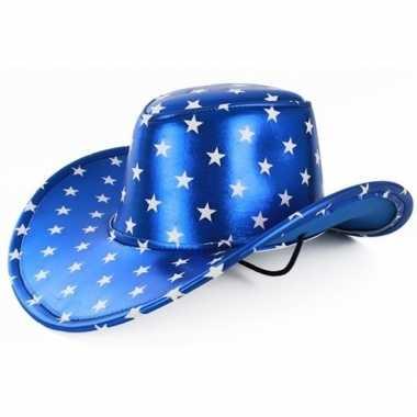 Originele toppers metallic blauwe cowboyhoed sterren volwassenen carn