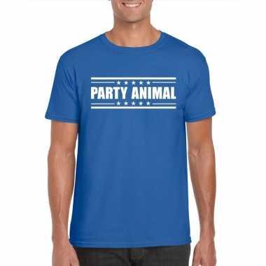 Originele toppers party animal t shirt blauw heren carnavalskleding