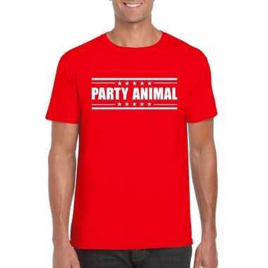 Originele toppers party animal t shirt rood heren carnavalskleding