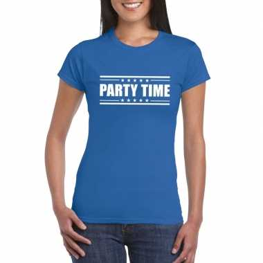 Originele toppers party time t shirt blauw dames carnavalskleding