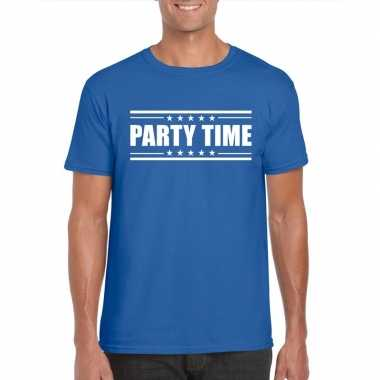 Originele toppers party time t shirt blauw heren carnavalskleding